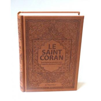 Le Saint Coran - Arabe / Français / Phonétique - Edition De Luxe - Couverture En Daim Couleur Marron
