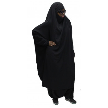 Jilbeb El Bassira - 2 Pièces : Cape + Sirwal - Tissus Wool Peach - n°1 - Noir & NB - A2S1W