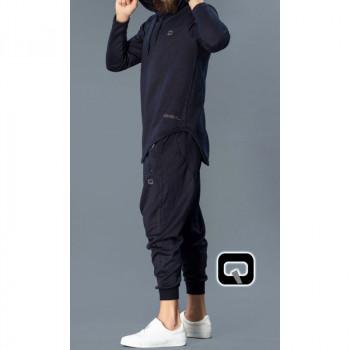 Sarouel et veste à capuche bleu, ensemble Qaba'il : Onyx