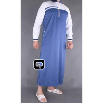 Qamis bleu indigo et blanc Qaba'il : Classic