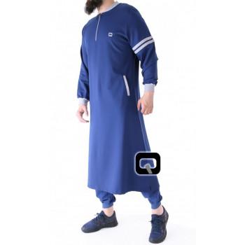 Qamis Long Jogging - Roadster - Bleu Indigo - Qaba'il - 02 Uzun