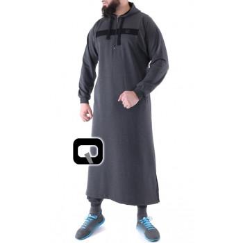 Qamis Long Capuche Jogging - Vortex - Gris Anthracite - Qaba'il - 2019 Uzun