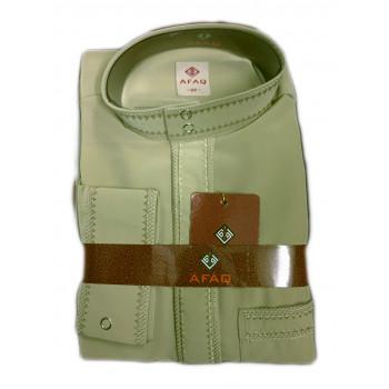 Qamis Beige - Col et Boutton au Manche avec Pantalon Coupe Droite - Afaq - 5522