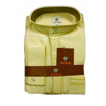 Qamis beige avec pantalon Afaq : bouton col et manches