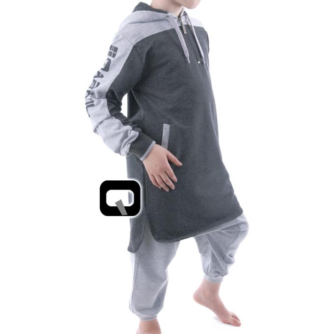 Qamis Court Capuche Be Hood - Gris Anthracite - Junior - Manches Longue Capuche - Qaba'il - 165 kisa