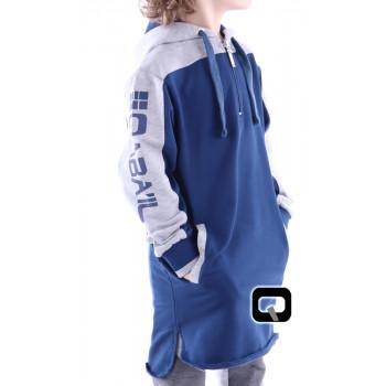 Qamis Court Capuche Be Hood - Bleu Indigo - Junior - Manches Longue Capuche - Qaba'il - 165 kisa
