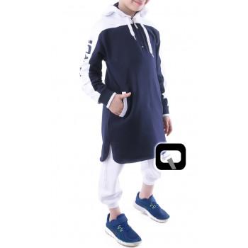 Qamis Court Capuche Be Hood - Bleu Nuit - Junior - Manches Longue Capuche - Qaba'il - 165 kisa