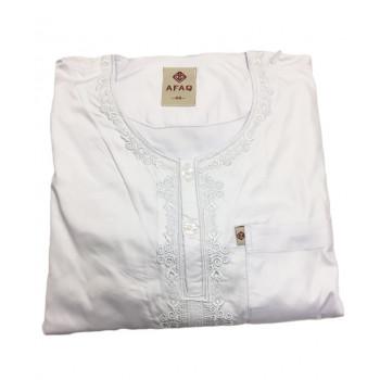 Qamis Adolescents - Blanc - Manche Longue + Pantalon - Sans Col - Tissu Glacé - Afaq - 4861