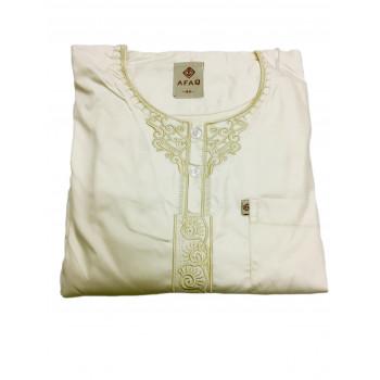 Qamis Adolescents - Blanc Crème - Manche Longue + Pantalon - Sans Col - Tissu Glacé - Afaq - 5611