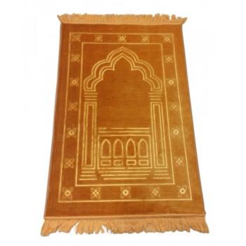 Grand Tapis de Prière - Orange - Motif Mirhab - Molletonné, Épais et Trés Doux - Confortable et Anti-Dérapant