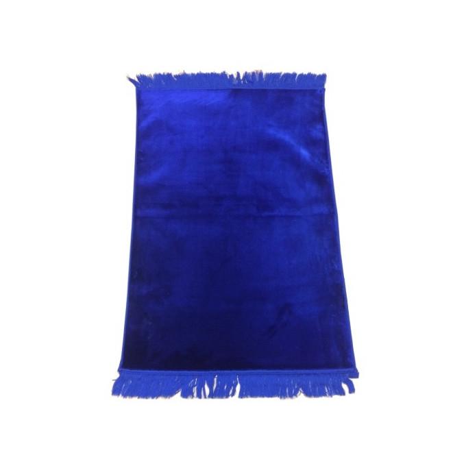 Grand Tapis de Prière - Bleu Roi - Sans Motif - Molletonné, Épais et Trés Doux - Confortable et Anti-Dérapant