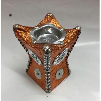 Brûleur d'Encens ou Bakhour avec Charbon - Encensoir - Orange Doré de Petite Taille - 9.5 x 6 cm - 5879