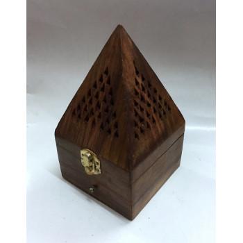 Bruleur avec Charbon Moyen - Forme de Pyramide - Encensoir en Bois - 10 x 19 cm - 5881