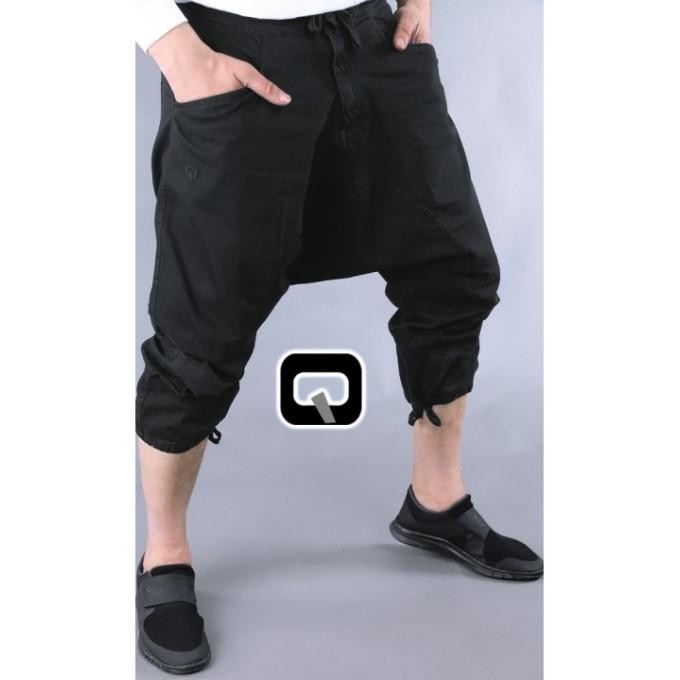 Sarouel Style Pantacourt - Noir - Jean 100% Coton - Qaba'il - 11222 -1