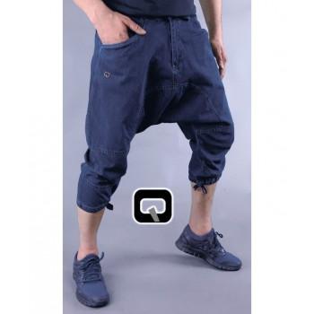 Sarouel Style Pantacourt - Bleu Stone - Jean 100% Coton - Qaba'il - 11221-1
