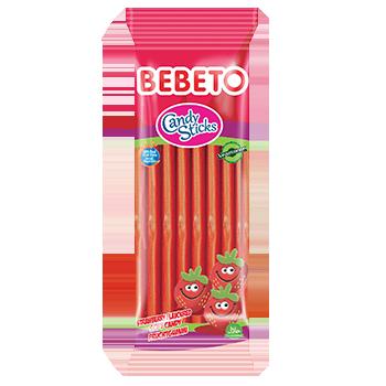 Bonbons Candy Stiks Fraise - Végétarien - Fabriqué avec du Vrai Jus de Fruit - Bebeto - Halal - Sachet 180gr