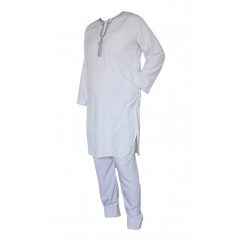 Qamis Afaq - Ensemble Pakistanais Manche Longue avec Pantalon - Blanc - 5928