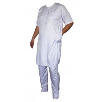 Qamis Afaq - Ensemble Pakistanais Manche Courte avec Pantalon - Blanc