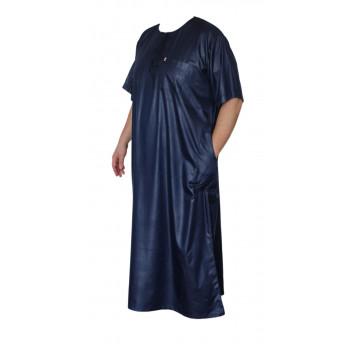 Qamis Afaq - Bleu Foncé - Manche Courte - 2886