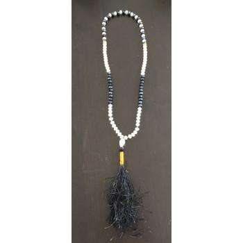 Chapelet - Dzikr - 99 Perles Cristal - Bicolore Bleu Nuit et Transparent - 5946