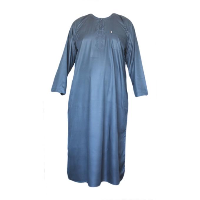 Qamis Bleu Pétrole AFAQ - Manche Longue - Sans Col - Tissu Glacé - 4481