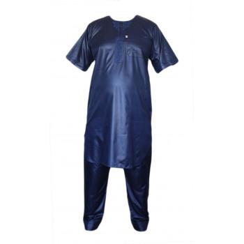 Qamis Afaq - Ensemble Pakistanais Manche Courte avec Pantalon - Bleu - 5987