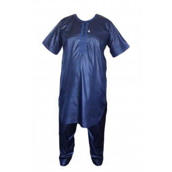 Qamis Afaq - Ensemble Pakistanais Manche Courte avec Pantalon - Bleu - 5986