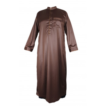 Qamis Marron - Tissu Raffiné Glacé - Manche Longue - Al Hattami - Arabie Saoudite - 5966