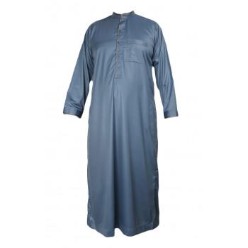 Qamis saoudien bleu pétrole manches longues Al Hattami