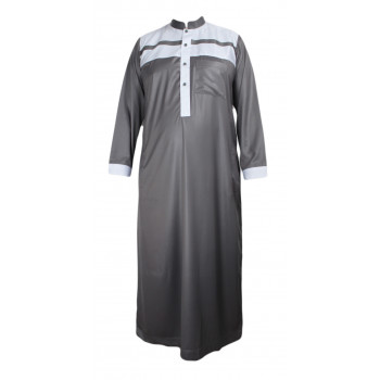 Qamis Gris Bicolor - Tissu Raffiné Glacé - Manche Longue - Al Hattami - Arabie Saoudite - 5961