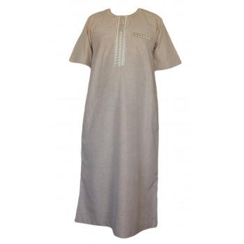 Qamis - Tissu Raffiné Glacé - Manche Courte - Al Hattami - Arabie Saoudite -