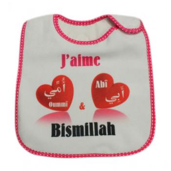 Bavoir J'aime Abî et Oummî - Bismillah Rose pour Filles