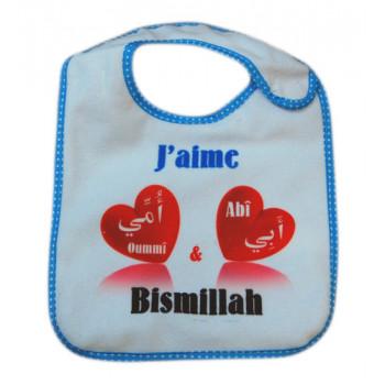 Bavoir J'aime Abî et Oummî - Bismillah Bleu pour Garçons