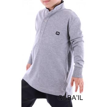 Polo manches longues gris clair Qaba'il : junior