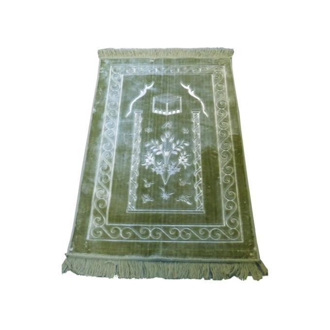 Grand Tapis de Prière - Vert Pistache  - Motif Mekka - Molletonné, Épais et Trés Doux - Confortable et Anti-Dérapant
