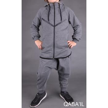 Sarouel et veste enfant gris anthracite, ensemble Qaba'il : Legend Neo