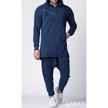 Qamis court bleu indigo, ensemble Qaba'il : Legend Neo
