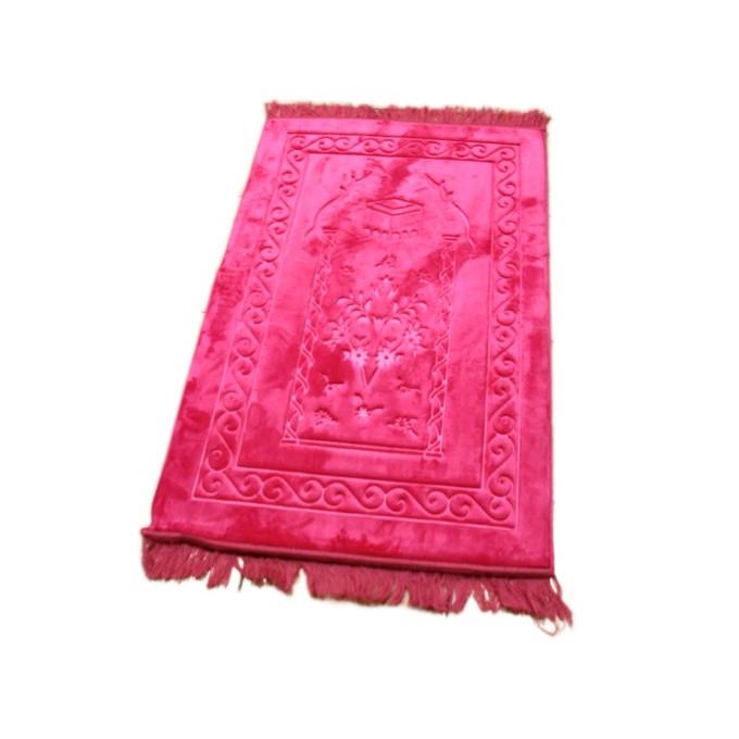 Grand Tapis de Prière - Rose Bonbon - Motif Mekka - Molletonné, Épais et Trés Doux - Confortable et Anti-Dérapant