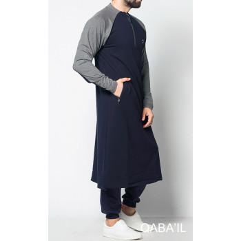 Qamis Long Longline - Bleu et Gris - Qaba'il