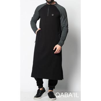 Qamis Long Longline - Noir et Anthracite - Qaba'il