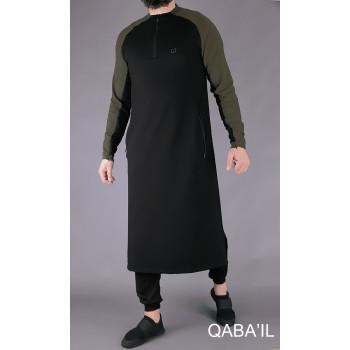 Qamis Long Longline - Noir et Kaki - Qaba'il