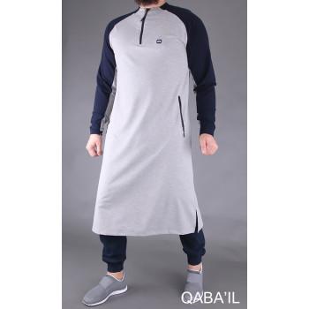 Qamis Long Longline - Gris et Bleu Nuit - Qaba'il
