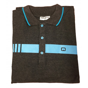 Polo Manches Courtes - 1 Bande Trendy - Gris Anthracite - Qaba'il - 18