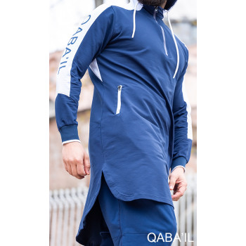 Qamis Behood court Bleu Indigo manches longues Qaba il - 2010