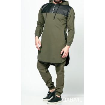 Qamis Jild court Kaki manches longues Qaba il - 2057