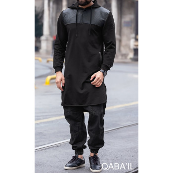 Qamis Jild court Noir manches longues Qaba il - 2057