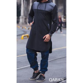 Qamis Jild court Bleu Nuit manches longues Qaba il - 2057