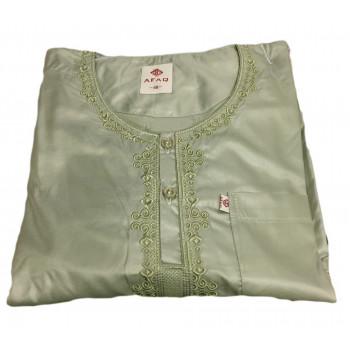 Qamis Adolescents - Vert Sauge - Manche Longue + Pantalon - Sans Col - Tissu Glacé - Afaq