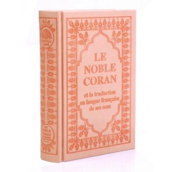 Le Saint Coran Rose Pâle - Arabe et Français - Couverture Haute Gamme 15 x 22 cm - Simili-Daim