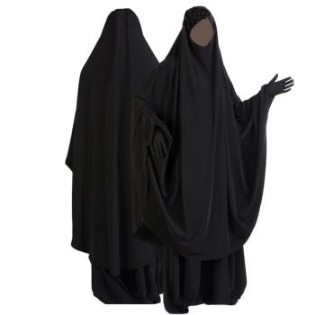 Jilbab Noir 2P - Cape+Jupe - Al Manassik